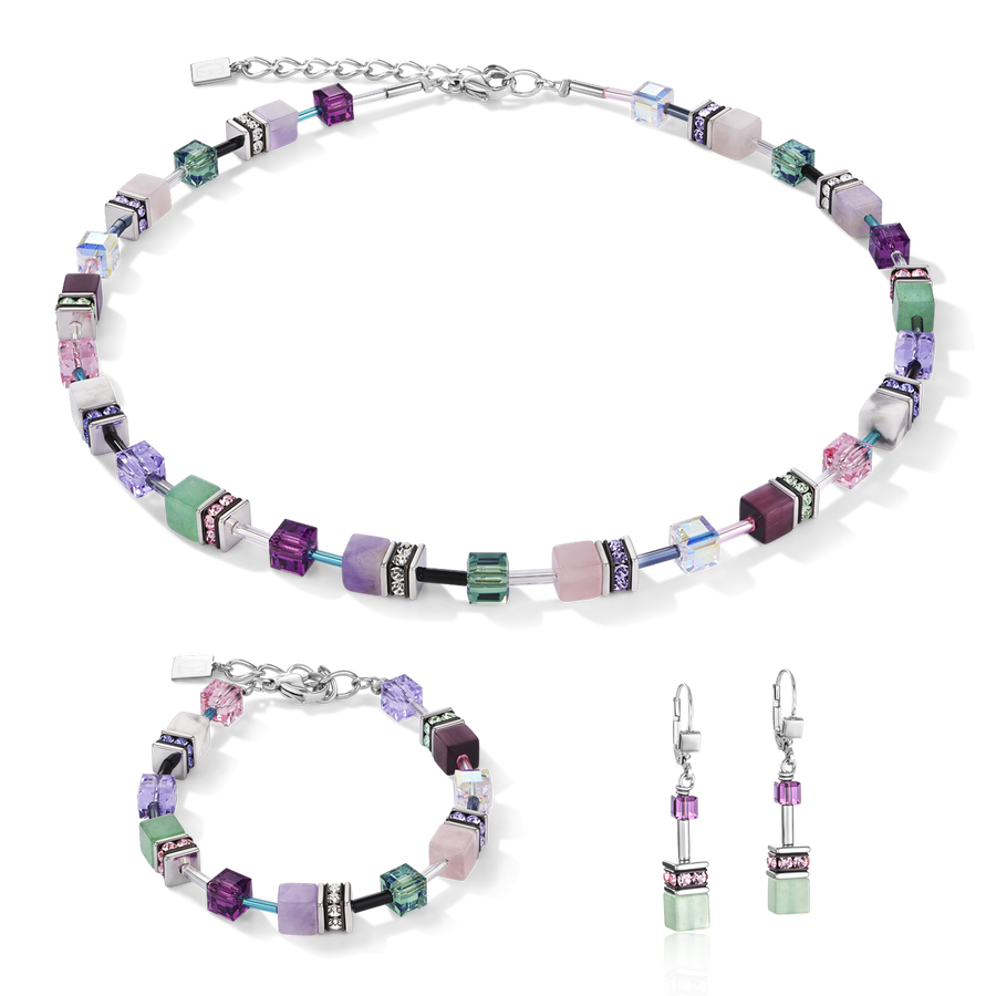 Necklace GeoCUBE® Swarovski® Crystals & Gemstones lilac-green