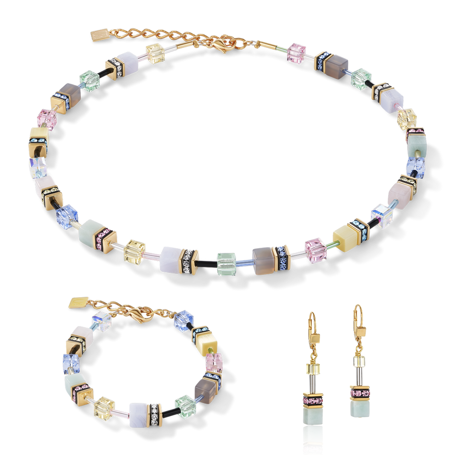 Necklace GeoCUBE® Swarovski® Crystals & Gemstones multicolour romance