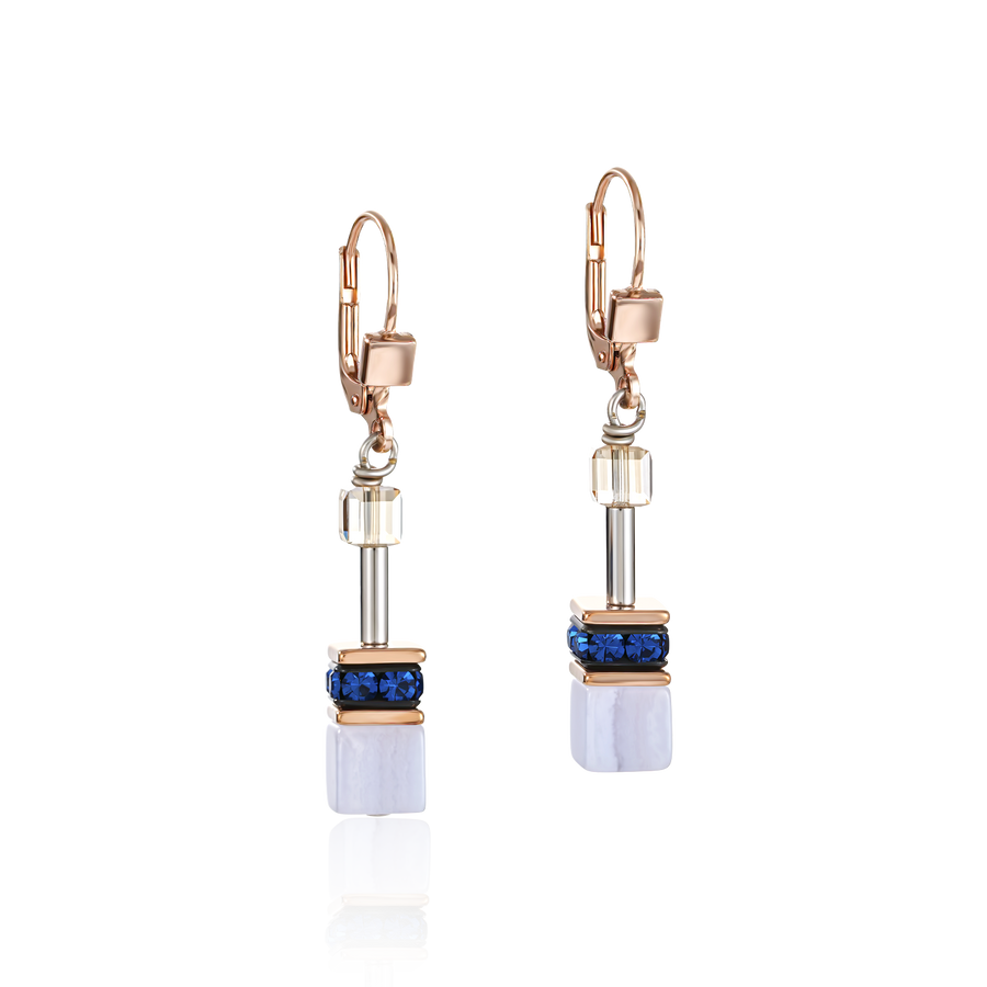 Earrings GeoCUBE® Swarovski® Crystals & Gemstones blue-beige