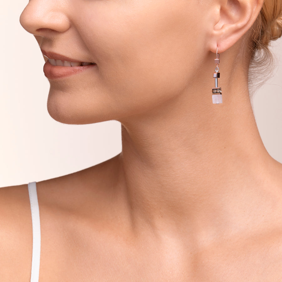 Earrings GeoCUBE® Swarovski® Crystals & Gemstones rose-beige