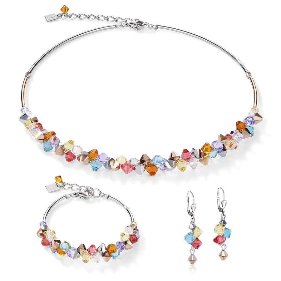 Necklace Swarovski® Crystals & stainless steel multicolour pastel 1