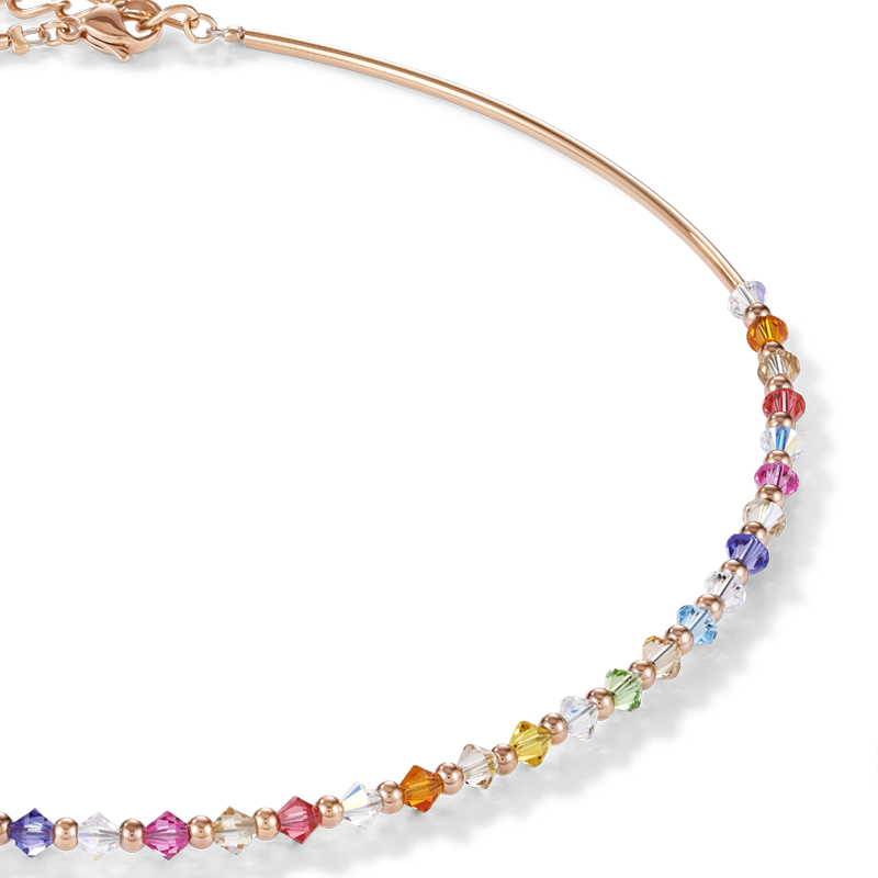 Necklace Swarovski® Crystals & stainless steel rose gold multicolour pastel