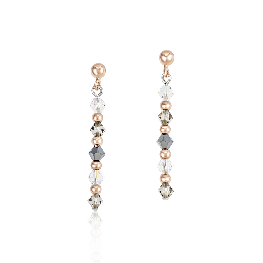 Earrings Swarovski® Crystals & stainless steel rose gold-grey