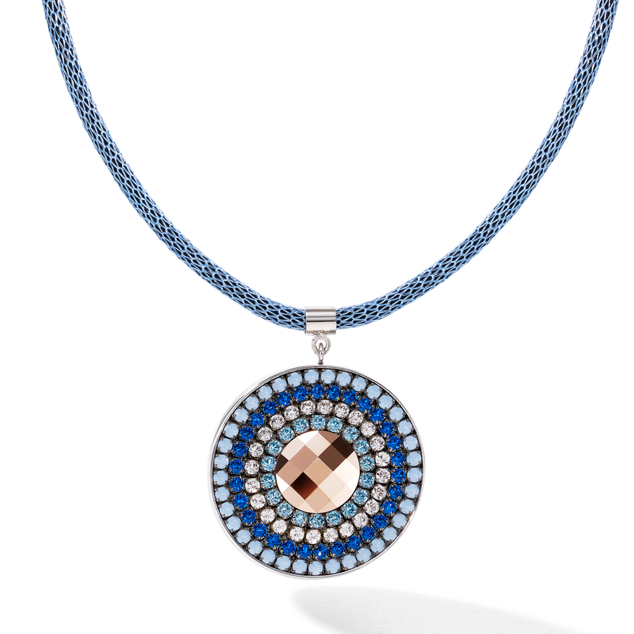 Necklace Amulet small Swarovski® Crystals & mesh blue