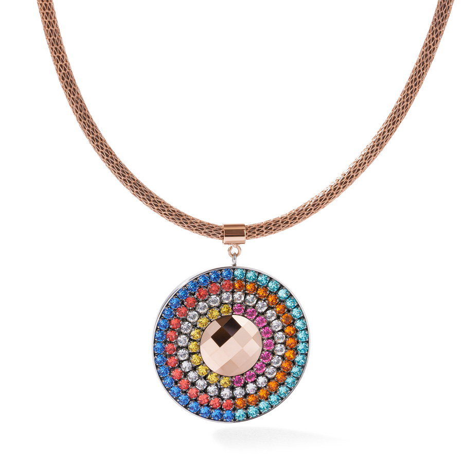 Necklace Amulet small Swarovski® Crystals & mesh multicolour