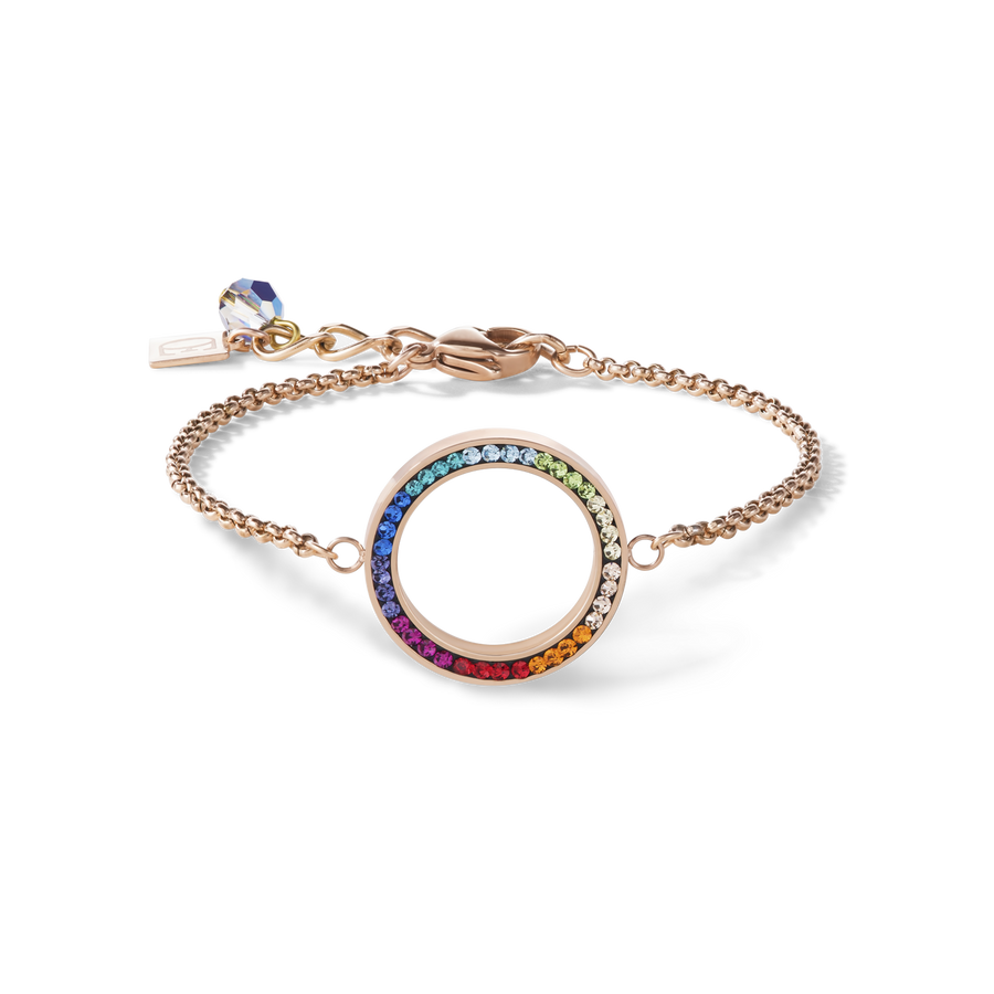Bracelet Ring Crystals pavé & stainless steel rose gold & multicolour
