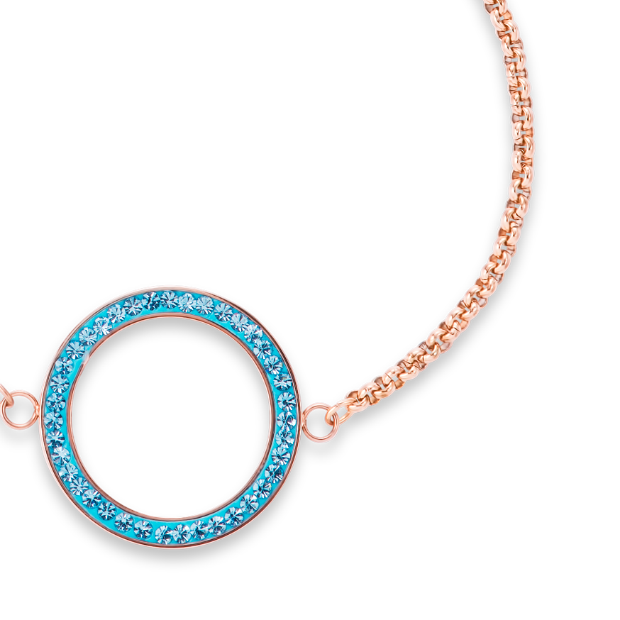 Bracelet Ring Crystals pavé & stainless steel rose gold & aqua