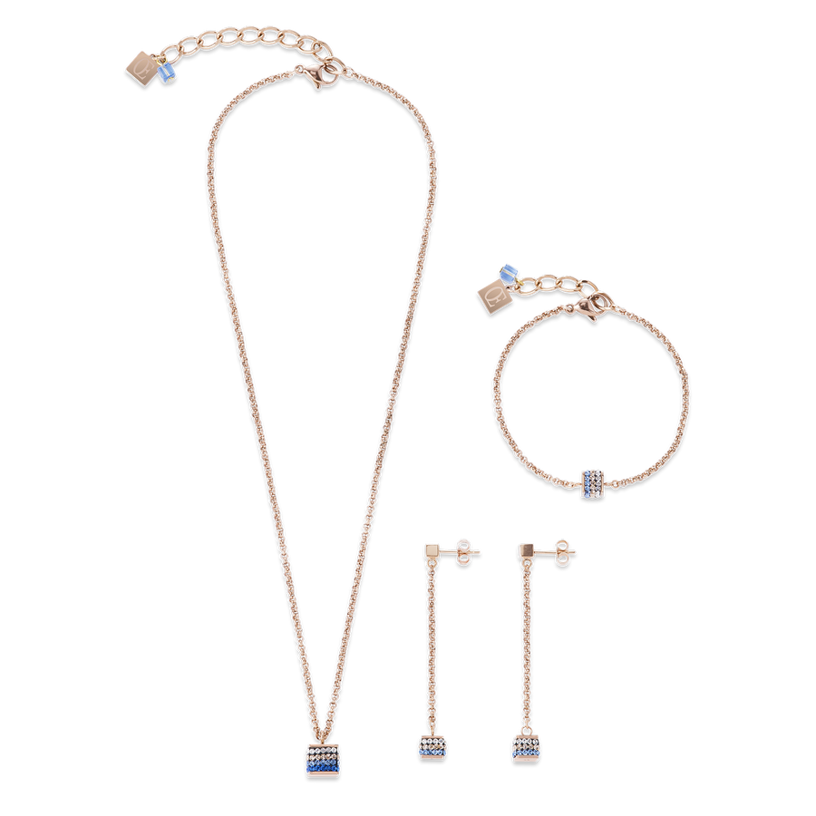 Bracelet Cube Crystals pavé & stainless steel rose gold & blue