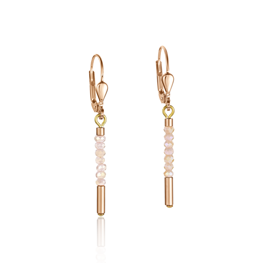 Earrings Waterfall stainless steel rose gold & glass nude