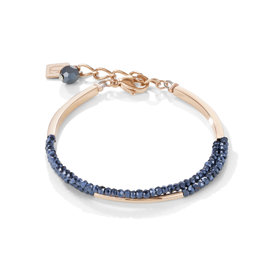 Bracelet Waterfall stainless steel rose gold & glass anthracite
