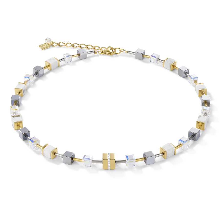 Necklace GeoCUBE® Stainless steel & crystals pavé, Swarovski® Crystals & howlite gold-white