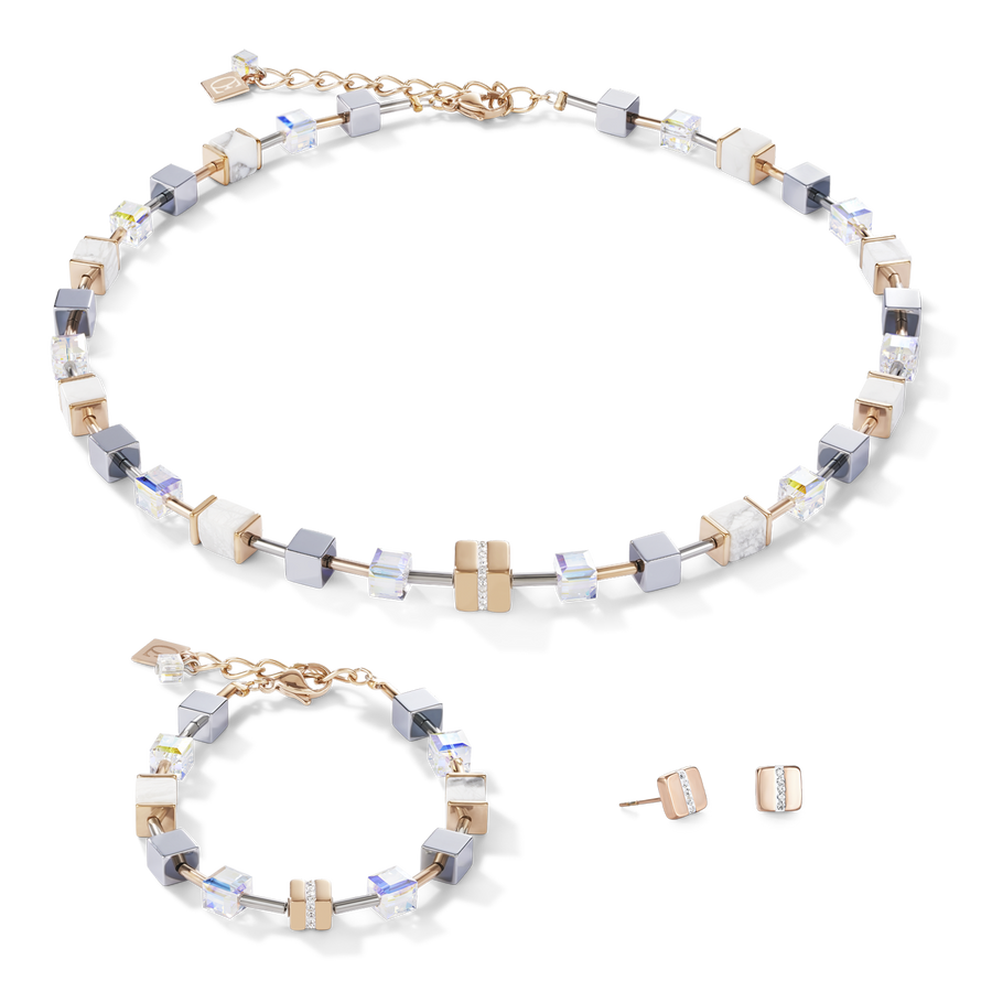 Necklace GeoCUBE® Stainless steel & crystals pavé, Swarovski® Crystals & howlite rose gold-white