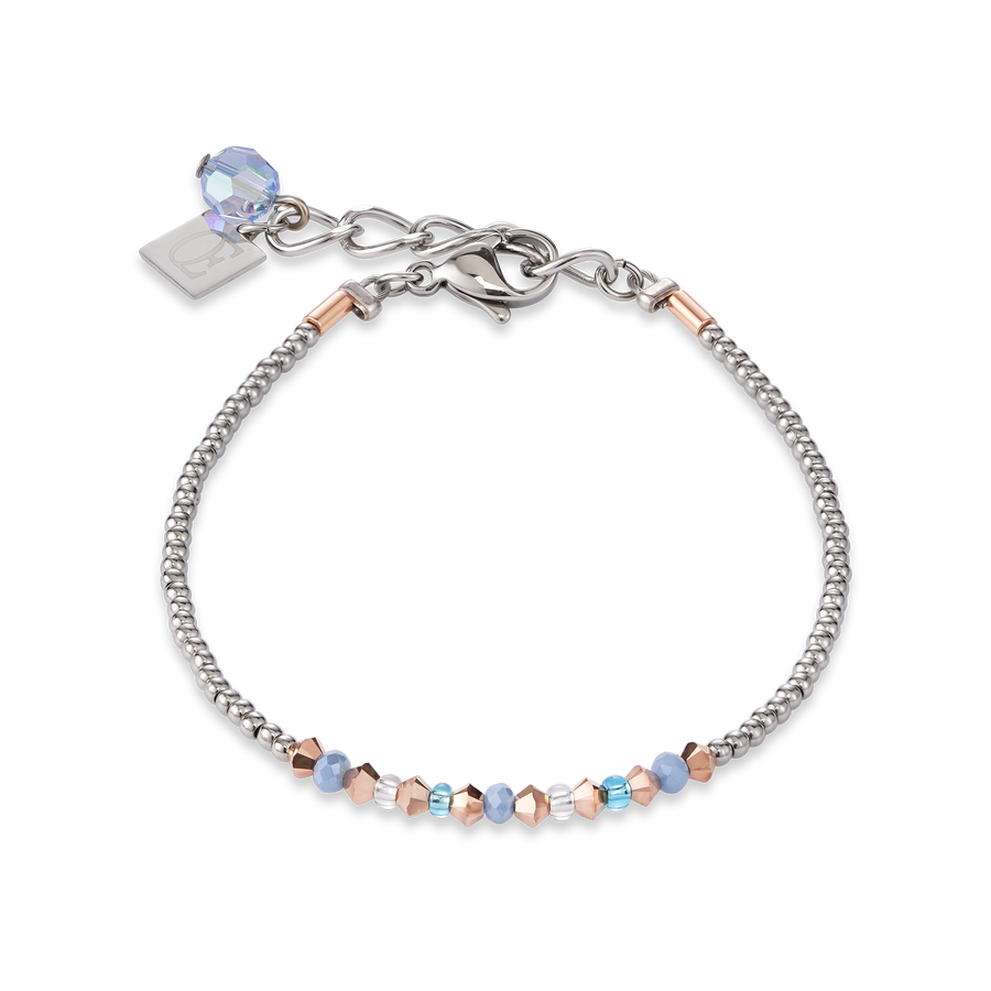 Bracelet Ring Crystals pavé blue small & stainless steel rose gold & silver