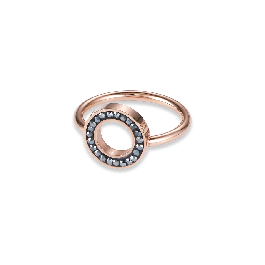 Ring Crystals pavé anthracite small & stainless steel rose gold