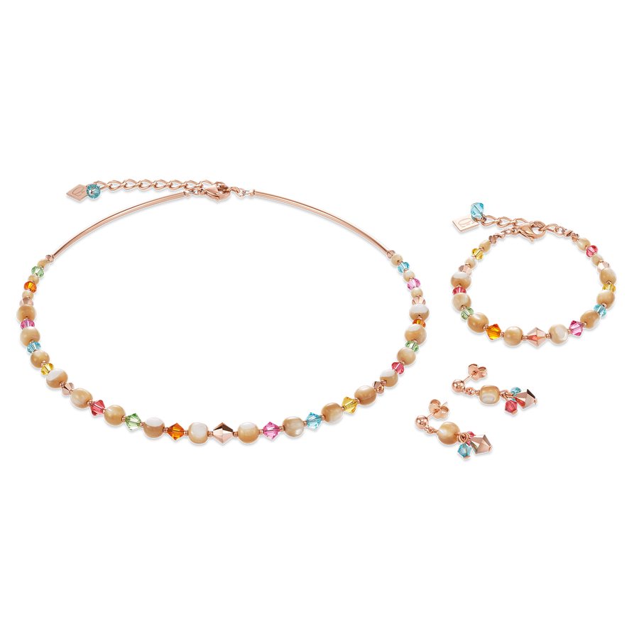 Necklace Mother-of-pearl, Swarovski® Crystals & stainless steel rose gold multicolour