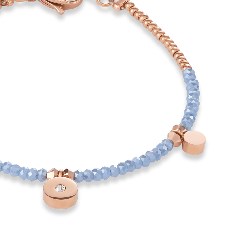 Bracelet Coins small Stainless steel rose gold, cut glass & Swarovski® Crystals light blue