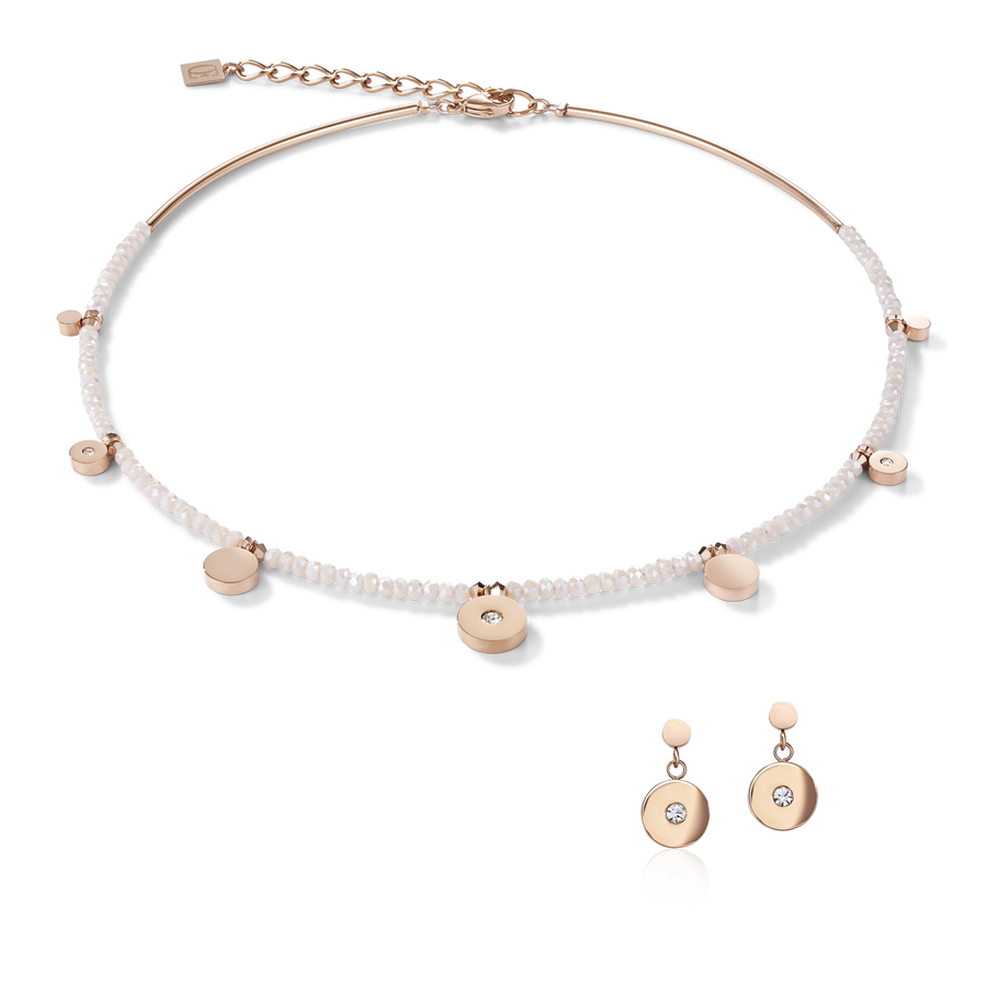 Necklace Coins Stainless steel rose gold, cut glass & Swarovski® Crystals white