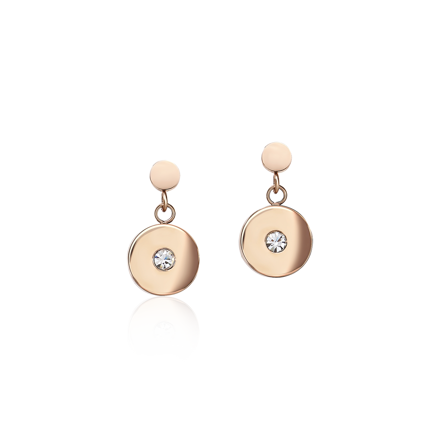 Earrings Coins Stainless steel rose gold, cut glass & Swarovski® Crystals white