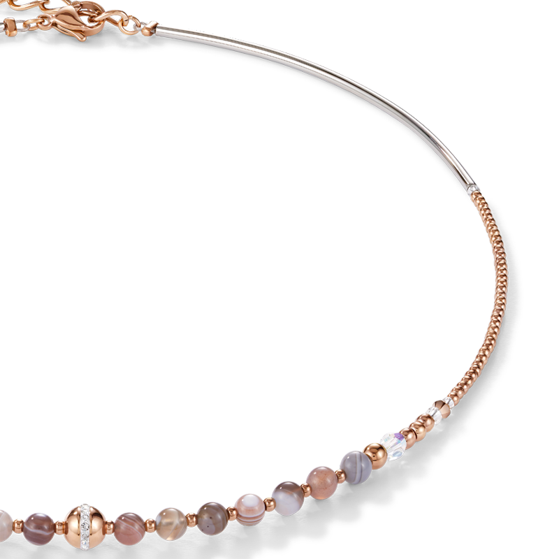 Necklace Ball Botswana agate & stainless steel rose gold beige-grey
