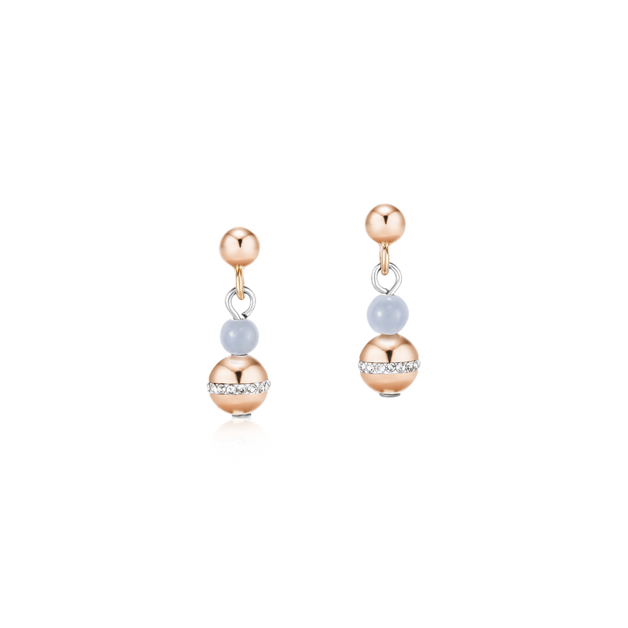 Earrings Ball Angelite & stainless steel rose gold light blue