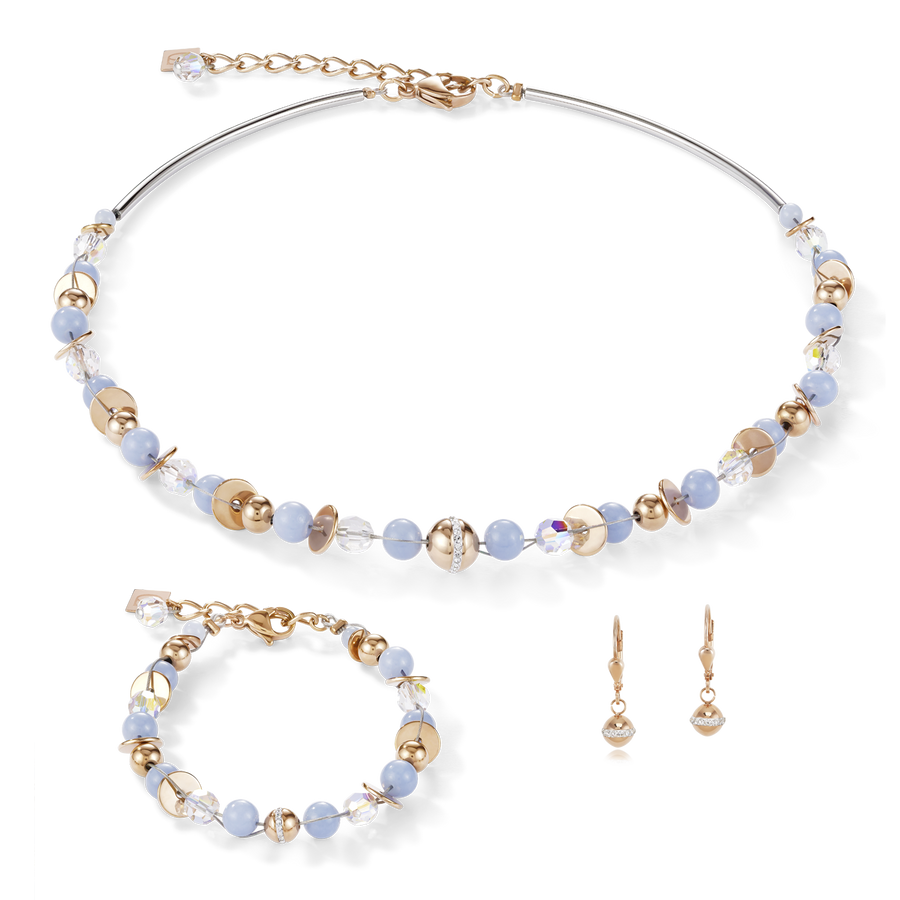 Necklace TwistedPEARLS Angelite & stainless steel rose gold light blue