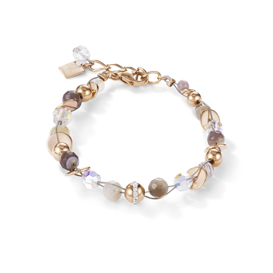Bracelet TwistedPEARLS Botswana agate & stainless steel rose gold beige-grey