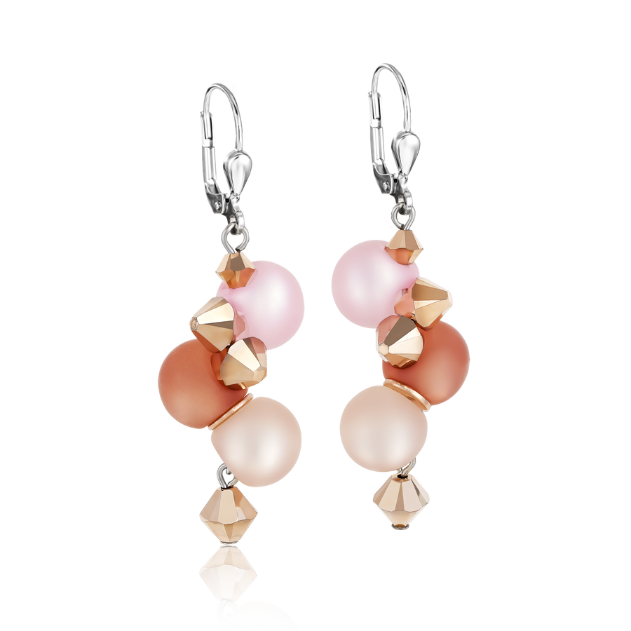 Earrings Polaris, Swarovski® Crystals & stainless steel rose-beige