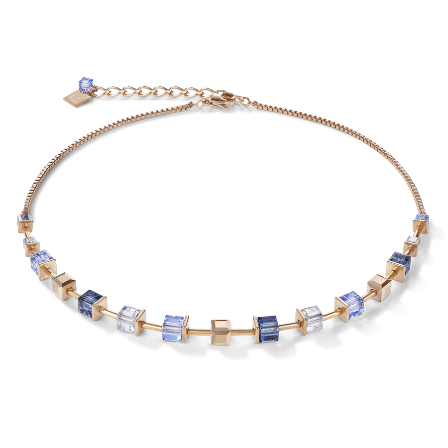 Necklace MonochromeBLUE Swarovski® Crystals & stainless steel rose gold blue