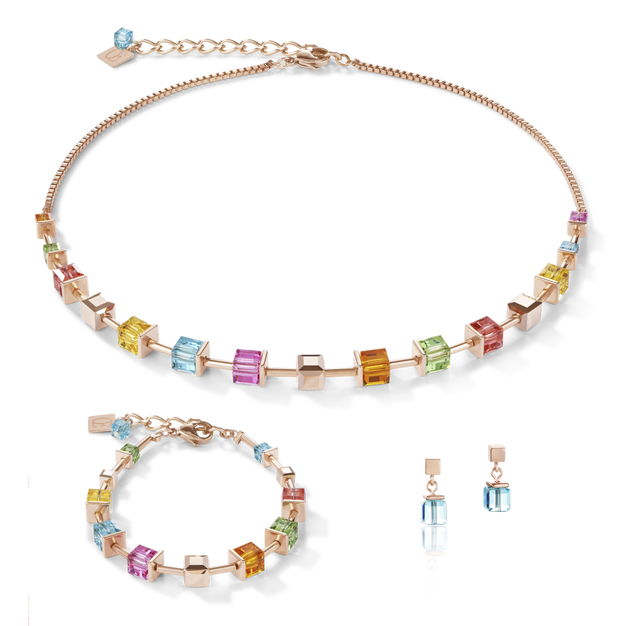 Necklace Swarovski® Crystals & stainless steel rose gold multicolour
