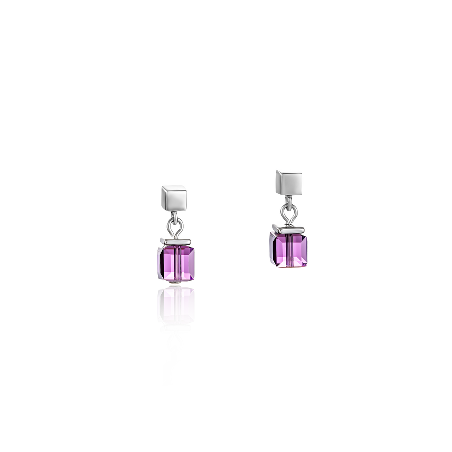 Earrings GeoCUBE® Swarovski® Crystals & stainless steel amethyst