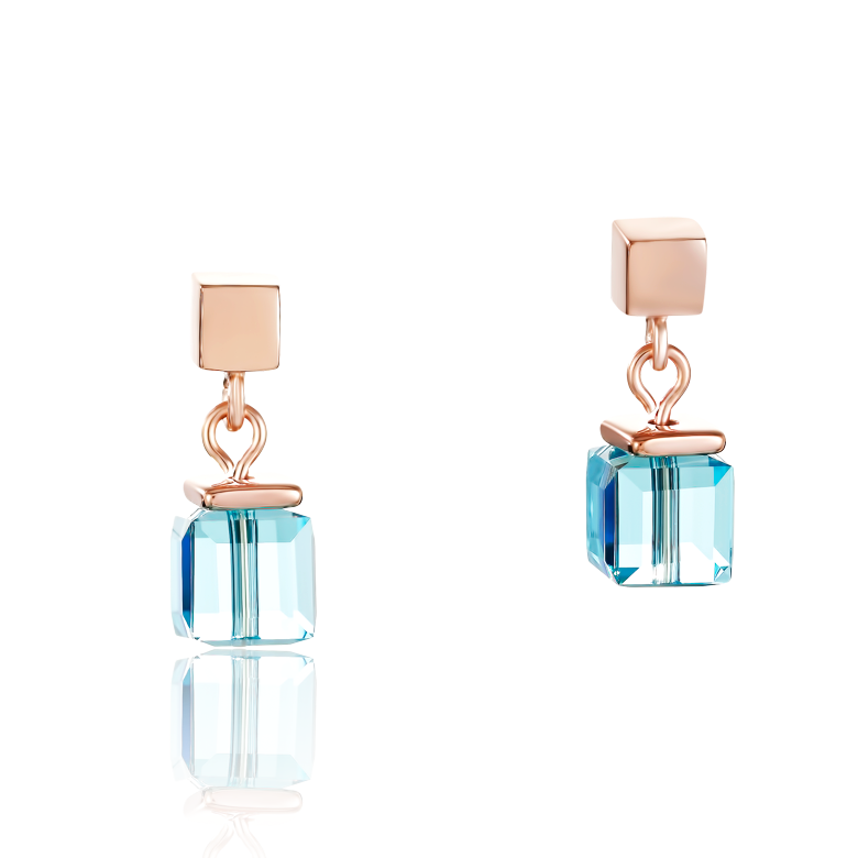 Earrings Swarovski® Crystals & stainless steel rose gold multicolour