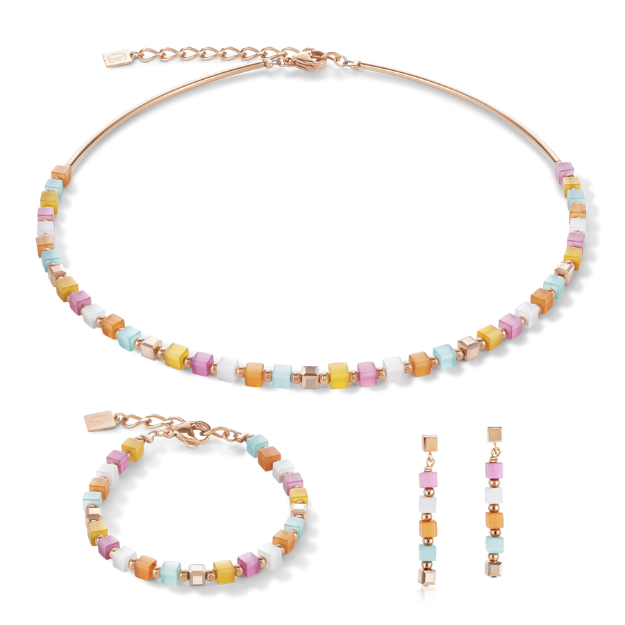 Bracelet GeoCUBE® small synthetic tiger's eye & Swarovski® Crystals multicolour pastel 1