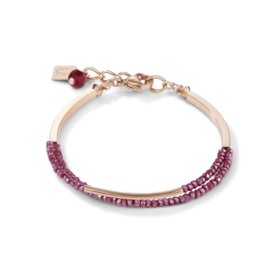 Bracelet Waterfall small stainless steel rose gold & glass red