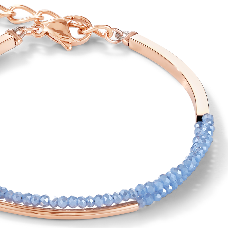 Bracelet Waterfall small stainless steel rose gold & glass light blue