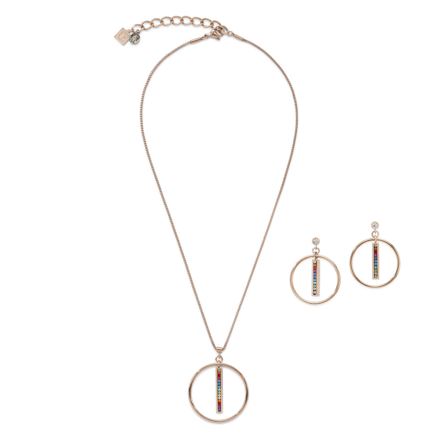 Necklace Stainless Steel rose gold Ring & Crystals pavé strip multicolour
