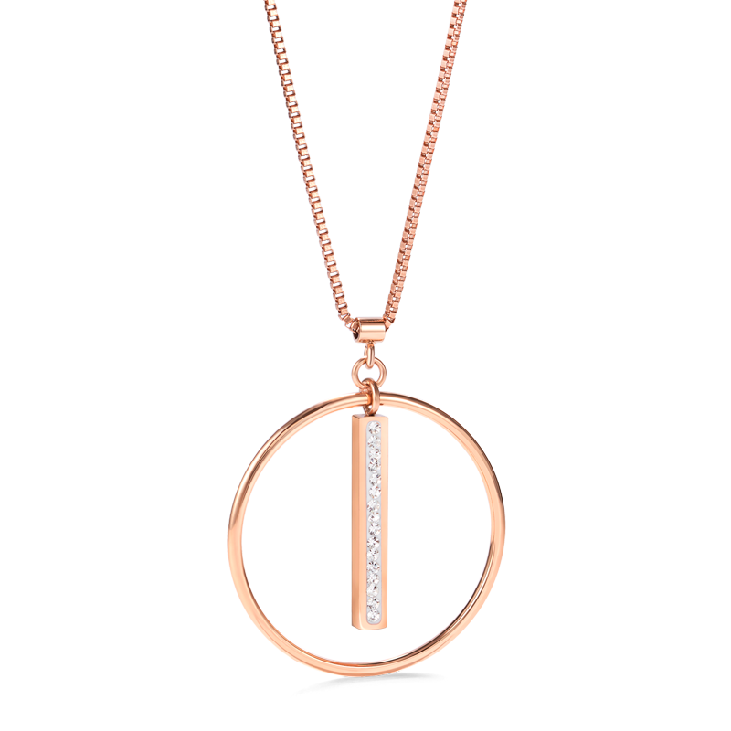 Necklace Stainless Steel rose gold Ring & Crystals pavé strip crystal