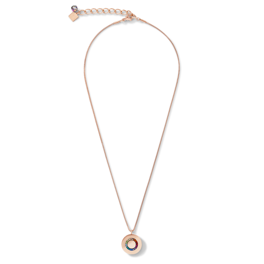 Necklace Stainless Steel Disk rose gold & Crystals pavé multicolour