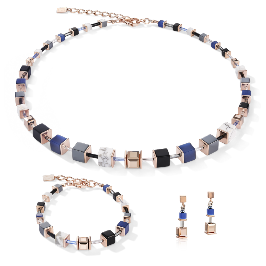 Necklace GeoCUBE® blue-rose gold