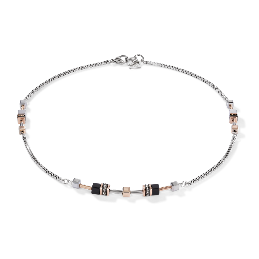 Necklace GeoCUBE® Multitask 4-in-1 rose gold-silver