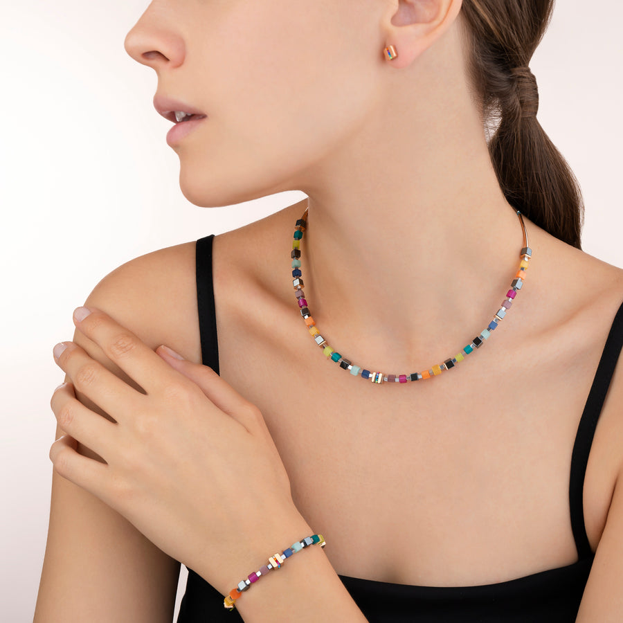Necklace GeoCUBE® Stainless steel rose gold & crystals pavé multicolour
