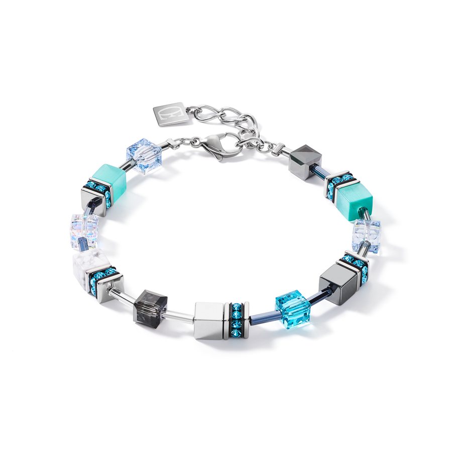 Bracelet GeoCUBE® medium aqua-white