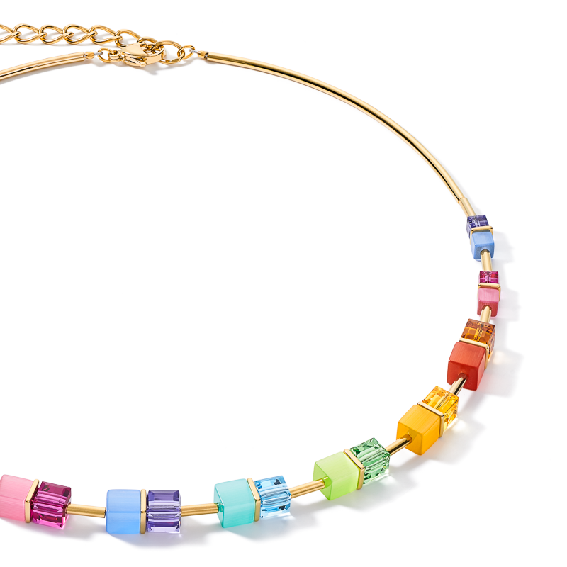 Necklace GeoCUBE® colour couple multicolour rainbow-gold