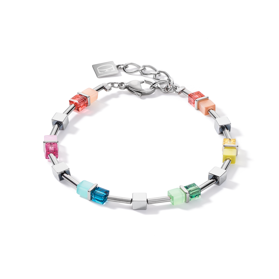 Bracelet GeoCUBE® colour couple haematite multicolour spring-silver