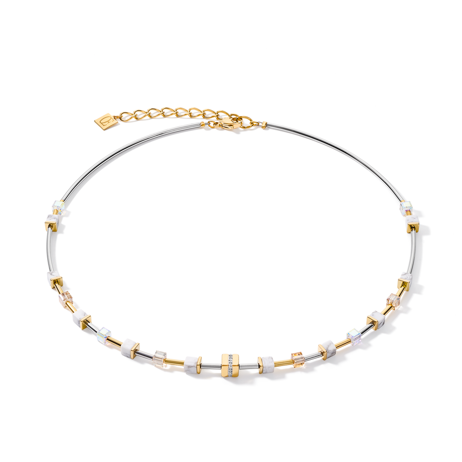 Necklace GeoCUBE® small Stainless steel & crystals pavé white-gold-silver