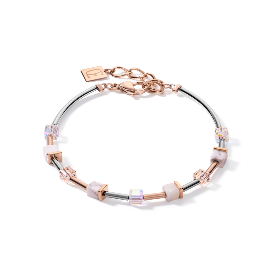 Bracelet GeoCUBE® small Stainless steel & crystals pavé white-rose-gold-silver