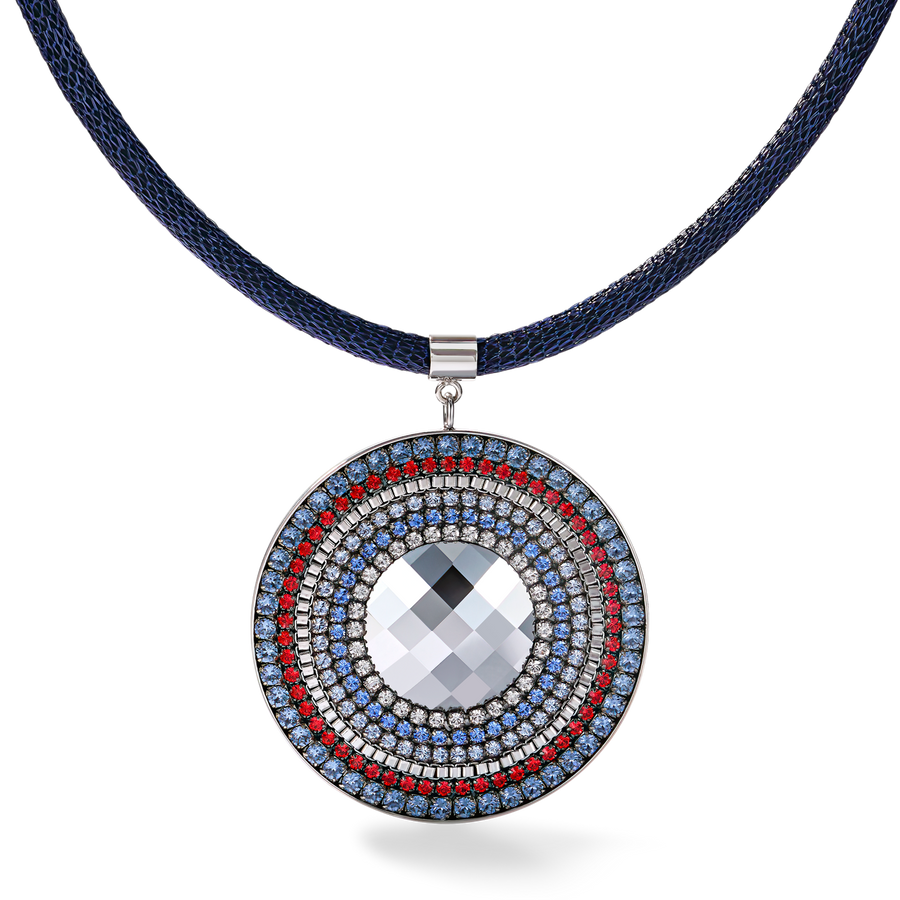Necklace Amulet Swarovski® Crystals & mesh blue-red