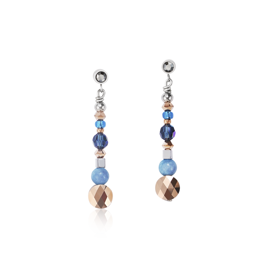Earrings Amulet small Swarovski® Crystals & amazonite montana