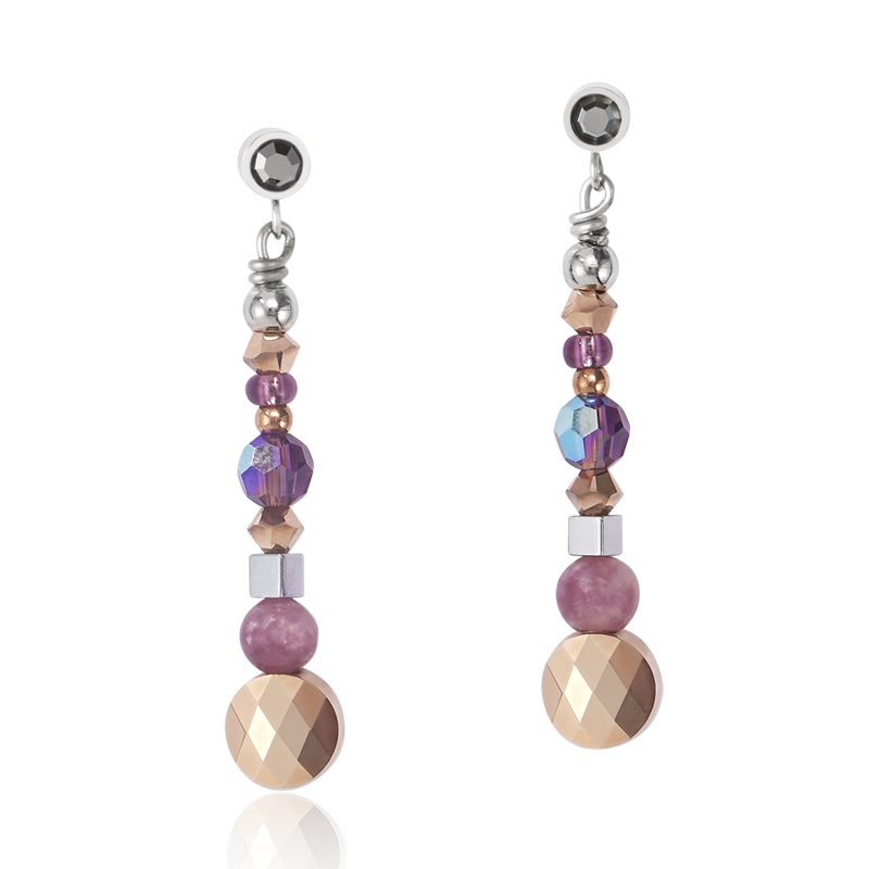 Earrings Amulet small Swarovski® Crystals & lepidolite amethyste