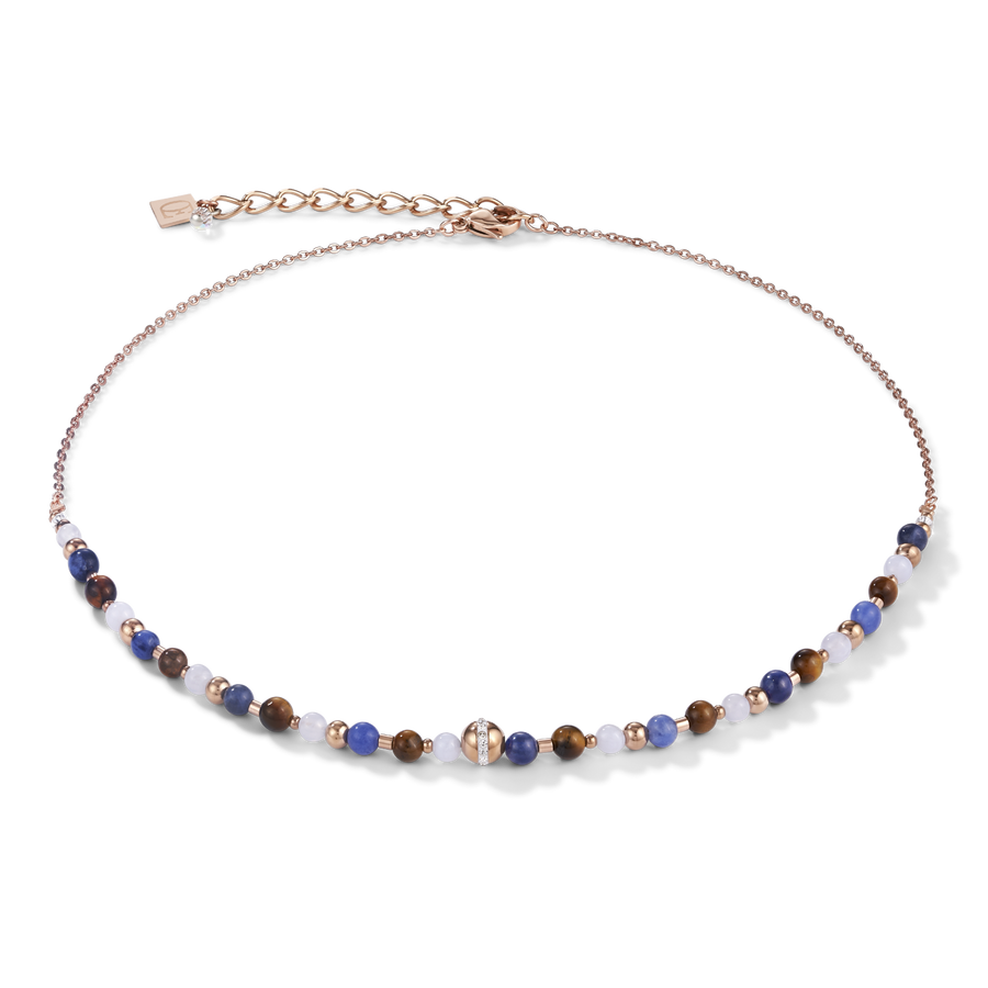 Necklace Ball stainless steel rose gold & gemstones blue-brown