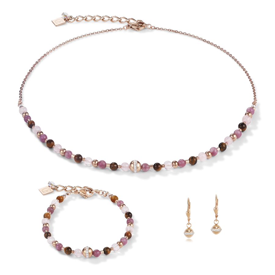 Necklace Ball stainless steel rose gold & gemstones lilac-brown